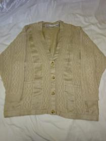 1980~90's Linen × Cotton Switched Design Cardigan