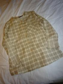 1980's Linen Check No Collar Shirt