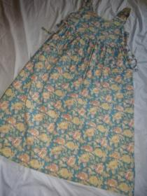 1980's Flower Print No Sleeve One-Piece