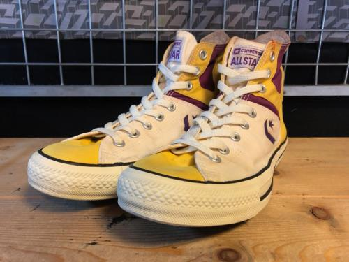 converse ALL STAR WEAPON HI (ホワイト/パープル/イエロー) USED写真