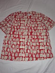1990's Shirt Fabric Short Sleeve Cut and Sewn