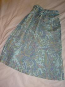 1970's Paisley Print Pleats Skirt