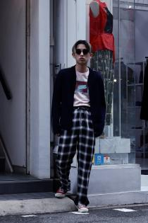 SUGARHILL ・WEED TEE(PINK) JOHN MASON SMITH ・PAJAMA PANTS CHECK(BLACK)