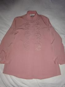 1990's Embroidery Mao Collar Long Sleeve Shirt