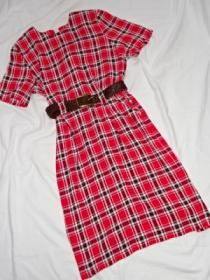 1980's Puff Sleeve Check One-Piece