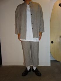 Linen × Rayon Mao Collar Shirt × Easy Cropped Pants 2PC Set-Up