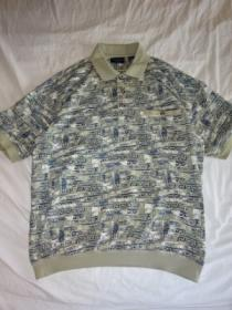 1990's Lib Design Print Polo Shirt