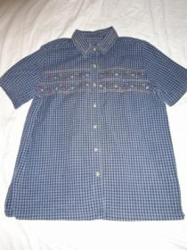 1990's Embroidery Check Short Sleeve Shirt