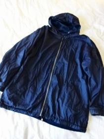 1980's Velour × Nylon Hooded Zip-Up Coat