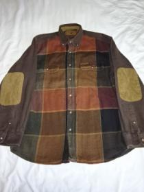 1990's Check Heavy Flannel Shirt with Elbow Patch