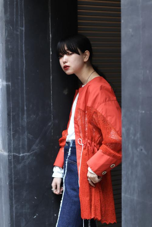 BELPER 2020 Spring Summer Collection WAVE PLEATED LACE SHIRT JACKET写真