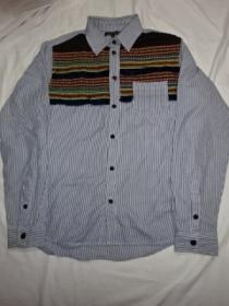 Switched Design Stripe Long Sleeve Shirt