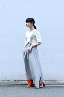 UJOH 2020 Spring Summer Collection ・Single Stripe Asymmetry Skirt