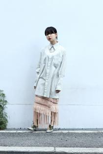 BELPER 20SS ・EMBROIDERY GATHERED SHIRT  tiit tokyo ・fringe knit skirt