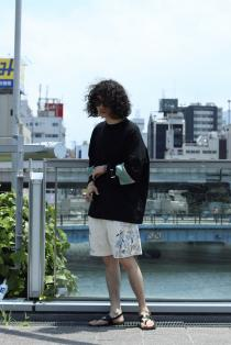 elephant TRIBAL fabrics ・MOCK NECK HOKKEY T SOE Painter Shorts