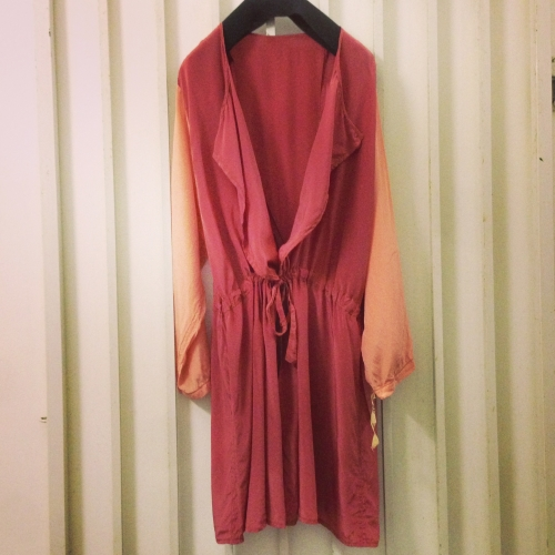 Silk 2tone chenge-design coat.写真