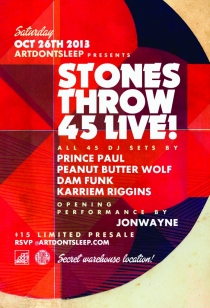 Stones Throw vs. The Beat Junkies @ Secret Location (Sat) 10.26.2013