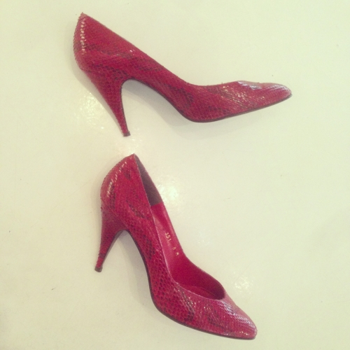 Ladies Python-leather  Heel pumps.写真