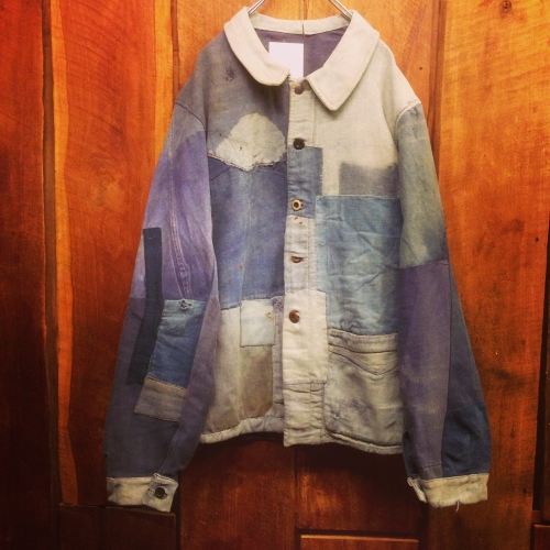 Men's 1940's french vintage patchwork jacket. 写真