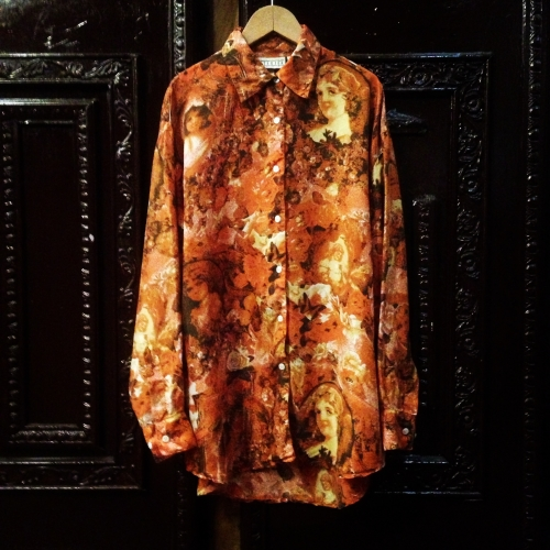 Men's SILK100% Whole pattern L/S shirt.写真