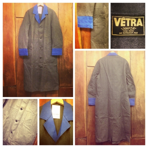 Men's French vintage Black-chambray switch design  Atelier coat.写真