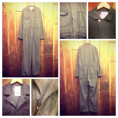Men's 1950's vintage Black chambray All-in-one.写真
