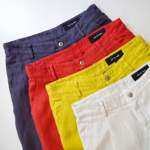 Linen one tuck color pants写真