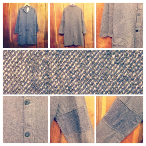 Men's 1950's french vintage  Blue chambray  Patchwork atelier coat.写真