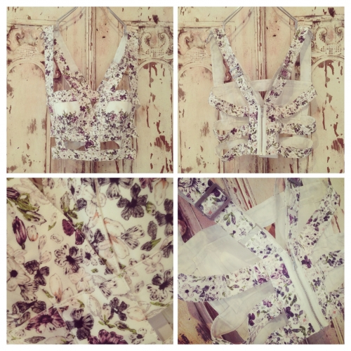 Ladies Design flower pattern Bra top.写真