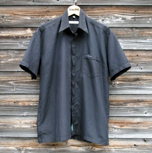 USED Ben Sherman Fly Front Black S/S Shirts (L) BS-4写真