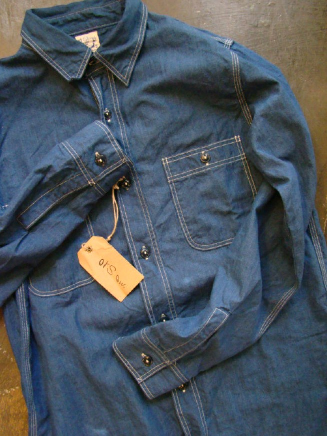 "|【or Slow オアスロー】CHAMBRAY SHIRTS""antique blue""写真"