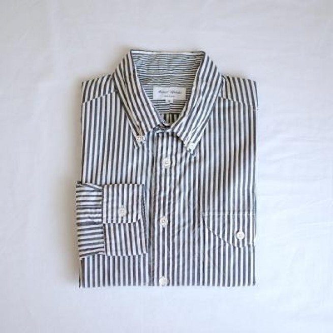 【MANUAL ALPHABET】STRIPE BD SHIRTS / BLACK写真